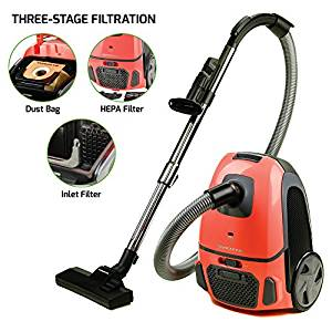 Ovente Canister Vacuum with Tri-Level Filtration