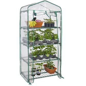 Best Choice Products 27x19x63in 4-Tier Mini Greenhouse wCover and Roll-Up Zipper Door - Green
