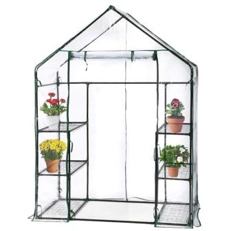 BestMassage Portable Mini IndoorOutdoor Greenhouse, Plant Shelves Tomato Herb Canopy Winter Walk-in Green House