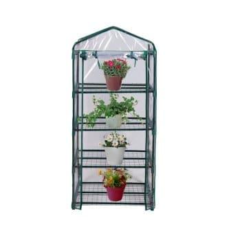 Blissun 4 Tier Mini Greenhouse, 27 L x 19 W x 62 H (green)
