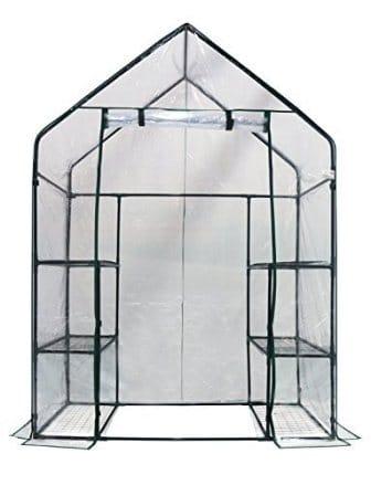 Homewell Mini Walk-In Greenhouse 3 Tiers 6 Shelves, 56W x 29D x 77H