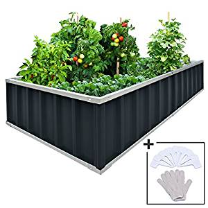 KING BIRD Extra-Thick 2-Ply Reinforced Card Frame Raised Garden Bed Galvanized Steel Metal Planter Kit