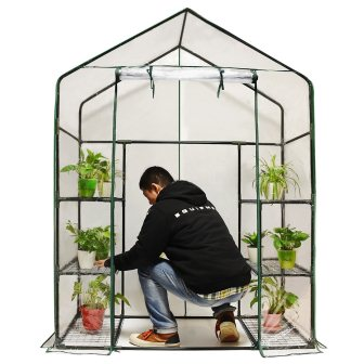 Quictent Greenhouse Mini Walk-In 3 tiers 6 shelves 102lbs Max Weight Capacity Portable Plastic Garden Outdoor Green House