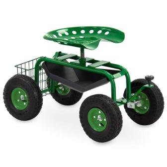Best Choice Products Mobile Rolling Garden Work Seat wTool Tray and Basket - Green