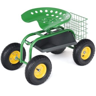 Goplus Garden Cart Rolling Work Seat Outdoor Lawn Yard Patio Wagon Scooter for Planting, Adjustable 360 Degree Swivel Seat wTool Tray, Basket (Green)[