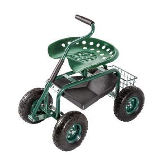 Kinbor Garden Cart Rolling Work Seat Outdoor Utility Lawn Yard Patio Wagon Scooter for Planting, Adjustable 360 Degree Swivel Seat
