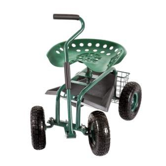 Peach Tree Rolling Garden Carts Work Scooter Gardening Seat with Wheels Heavy Duty Gardening Planting