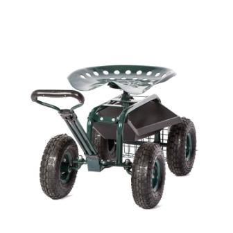 Peach Tree Rolling Garden Carts Work Scooter Gardening Seat with Wheels, Rolling Tractor Garden Chair