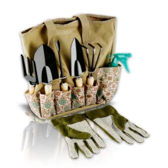 Scuddles Garden Tools Set – 8 Piece Heavy-Duty Gardening tools With Storage Organizer