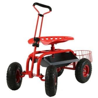 Sunnydaze Rolling Garden Cart Scooter with Wheels, 360 Swivel Seat, and Utility Tool Basket, Red