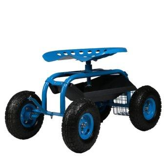 Sunnydaze Rolling Garden Cart Scooter with Wheels, 360 Swivel Seat, and Utility Tool Storage Basket, Blue