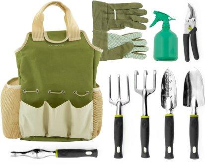 Vremi 9 Piece Garden Tools Set – Gardening Tools with Garden Gloves and Garden Tote