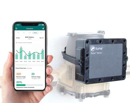Flume Smart Home Water Sensor - Monitors Water Usage and Lawn Sprinklers - Leak Detector - No Pipe Cutting, Easy Install, Wi-Fi