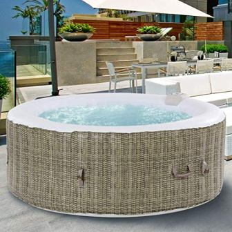GYMAX Outdoor Spa, Portable Inflatable Hot Tub
