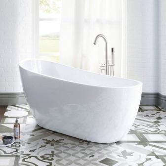 WOODBRIDGE 54″ Acrylic Freestanding Bathtub Contemporary Soaking Tub B-0006 + Faucet F0001