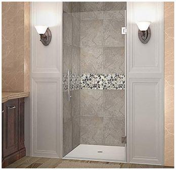 Aston Cascadia Completely Frameless Hinged Shower Door (Brushed Stainless Steel Finish)