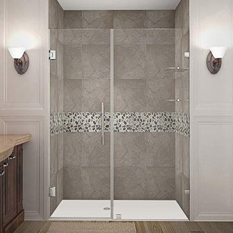 Aston Nautis GS Completely Frameless Hinged Shower Door (with Glass Shelves, Brushed Stainless Steel)