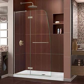 DreamLine Aqua Ultra Frameless Hinged Shower Door (Glass, Brushed Nickel Finish)