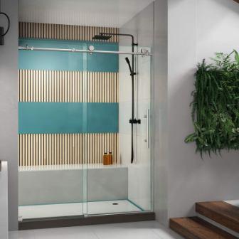 DreamLine Enigma-X Fully Frameless Sliding Shower Door in Brushed Stainless Steel