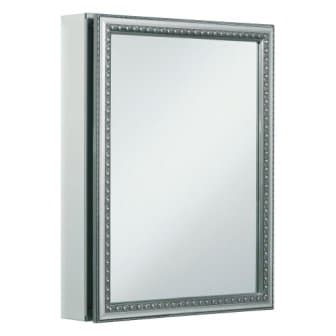 KOHLER K-CB-CLW2026SS Aluminum Bathroom Medicine Cabinet with Decorative Silver-Framed Mirror Door