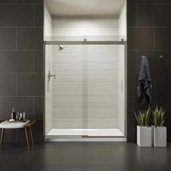 Kohler Levity Bypass Shower Door (with Handle and Crystal Clear Glass in Matte Nickel)