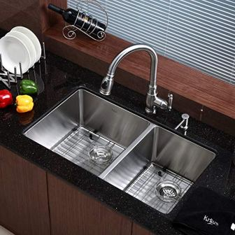 Kraus Standart PRO 33-inch Undermount 60/40 Double Bowl Stainless Steel Kitchen Sink, KHU103-33