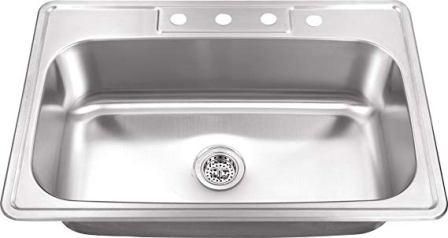 MSDP3322SB 20 Gauge Stainless Steel Single Bowl Kitchen Sink