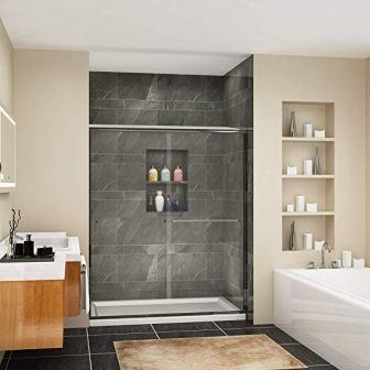 SUNNY SHOWER B020, Frameless Bypass Sliding Shower Doors (Clear Glass, Chrome Finish)