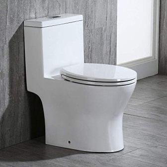 WOODBRIDGE B0750 T-0032 One Piece Dual Flush Elongated Toilet, White