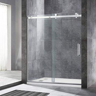 Woodbridge Deluxe Frameless Sliding Shower (Clear Tempered Glass, Brushed Nickel Finish)