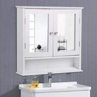 Yaheetech Medicine Cabinets Wooden Bathroom Wall Cabinet with Double Mirror Doors Adjustable Shelf White