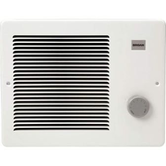 Broan Wall Heater, White Grille Heater with Built-In Adjustable Thermostat