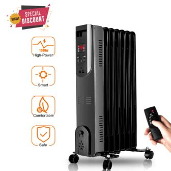 TRUSTECH Heater, Oil-Filled Radiator with Remote Control