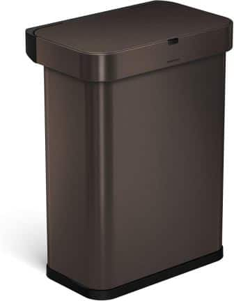 Simplehuman 15.3 Gallon Stainless-steel Dark Bronze Touch-Free Trash Can