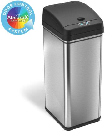 iTouchless 13-gallon stainless steel automatic wastebasket