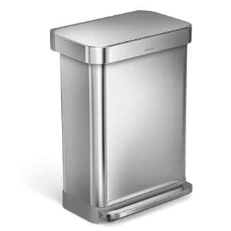 simplehuman Stainless Steel Rectangular Step Trash Can
