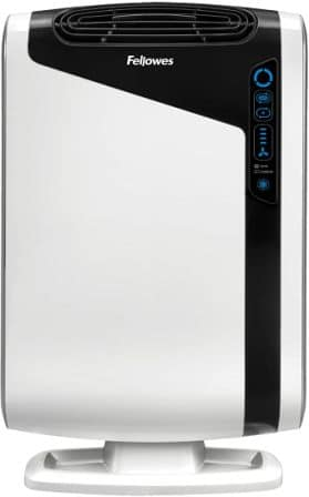 4-stage large room air purifier for germs, allergens, and odor with true HEPA filter from Fellowes