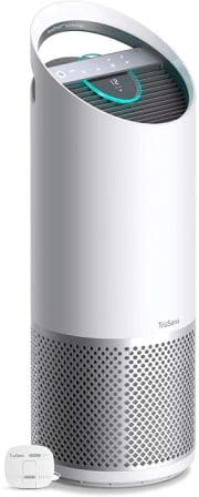 Dual airflow air purifier with UV light sterilization and 360 degrees HEPA filtration from TruSens