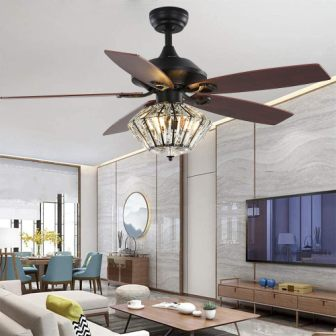 Andersonlight 52-Inch Metal Indoor Crystal Ceiling Fan