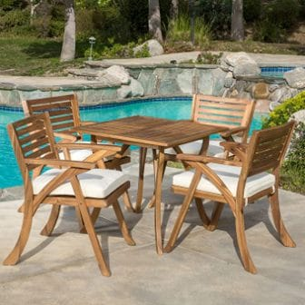 Christopher Knight Home Hermosa Wooden Patio Dining Set