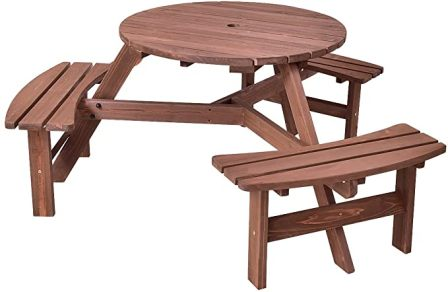 Giantex 6-person Wooden Patio Dining Set