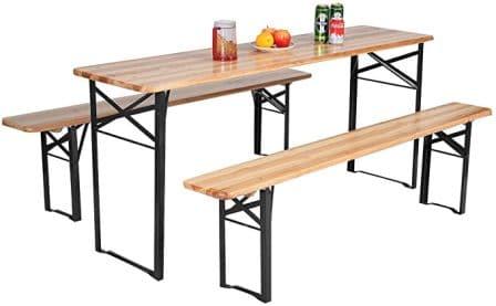 "Giantex 70"" 3-pc Portable Wooden Patio Dining Set"