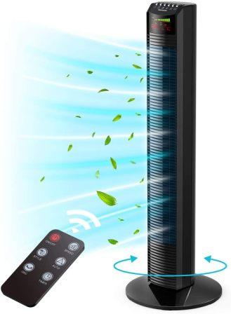 Homech Noiseless 3 Speed Portable and Compact Tower Fan with Remote Control