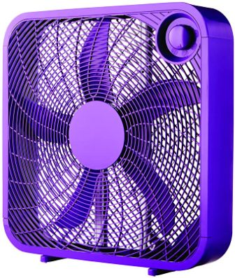 Mainstay Vibrant Purple Color 20″ Box 3-Speed Fan