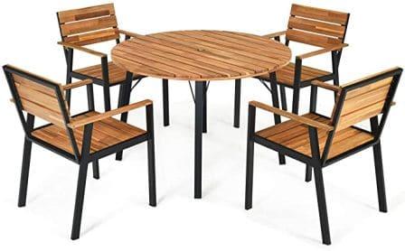 Tangkula 5-pc Wooden Patio Dining Set