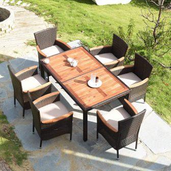Tangkula 7-pc Wooden Patio Dining Set