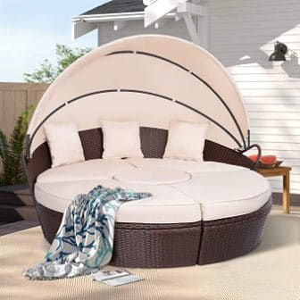 AECOJOY Outdoor Round Patio Daybed with Retractable Canopy
