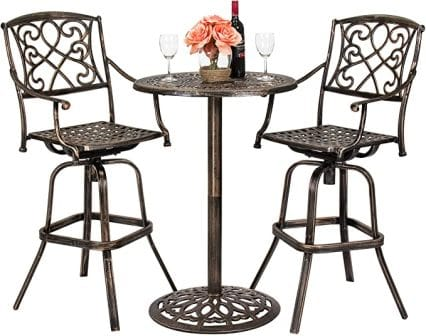 Best Choice Products 3-Piece Outdoor Bar Height Bistro Set