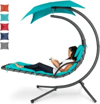 Best Choice Products Hanging Curved Chaise Lounge Chair Swing