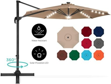 Best Choice Products LED Cantilever Patio Umbrella